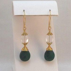 Green Jade Clear Quartz & Gold Wire Wrap Earrings